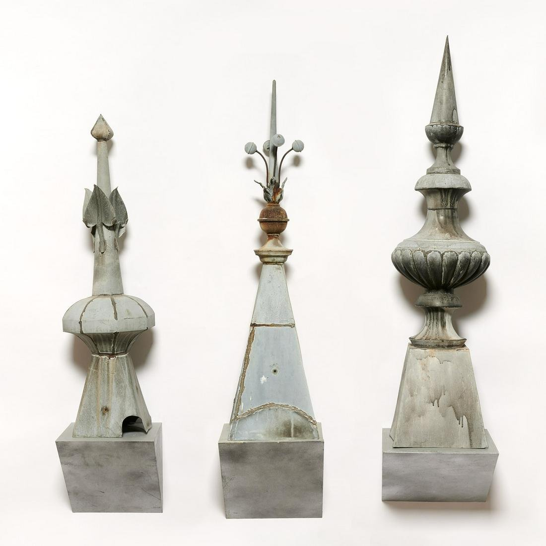 (3) French zinc architectural roof finial spires