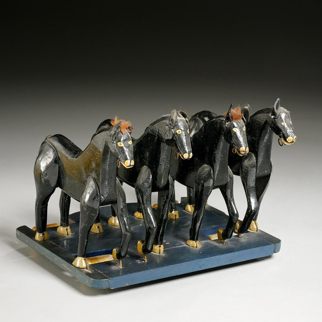 American Folk Art pull toy, four horse team