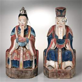Pair large Chinese carved wood ancestral figures