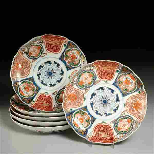 Set (6) Japanese Imari porcelain plates