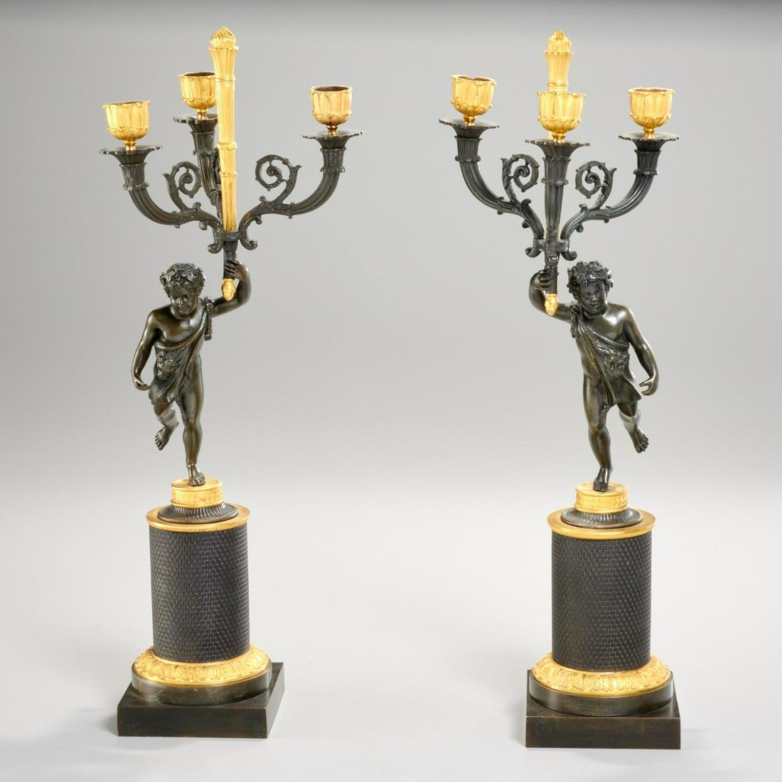 Pair French late Empire figural bronze candelabra