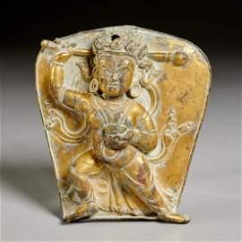 Antique Tibetan gilt bronze votive plaque