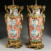 Impressive pair Asian bronze mounted vase lamps
