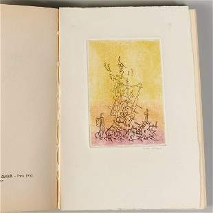 Yves Tanguy, signed etching, Sept Microbes
