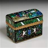 Limoges enamel gilt bronze scent bottle chest