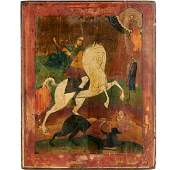 Large Russian icon, St. George and the Dragon