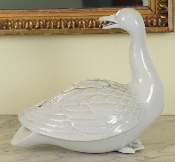 1: Antique Chinese white glazed goose-form censer