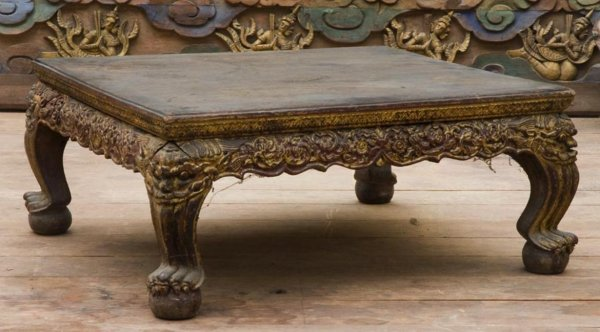 2: Antique Thai carved and lacquered wood low table