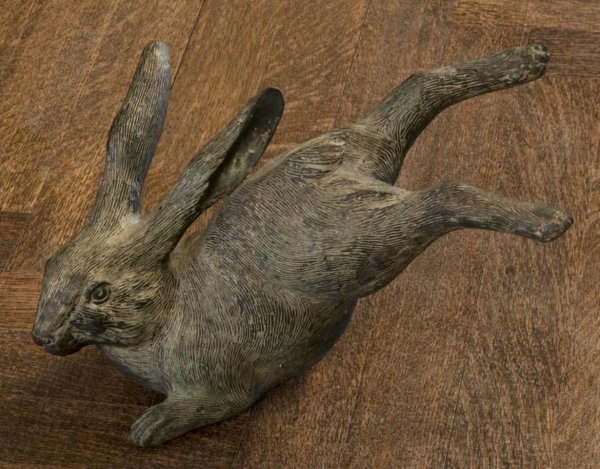 3: Antique Japanese patinated bronze hare