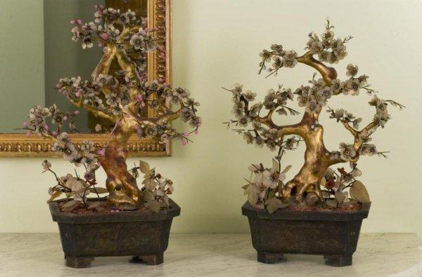 5: Pr. antique Chinese jade & hardstone models of trees