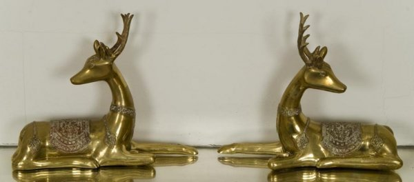 7: Pair Southeast Asian brass recumbent stags