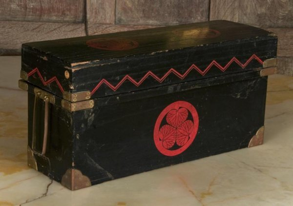 8: Antique Japanese painted and brass-bound box