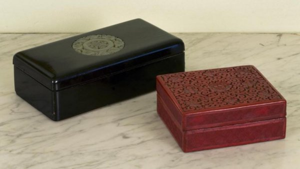 9: (2) antique Chinese lacquer and white jade boxes