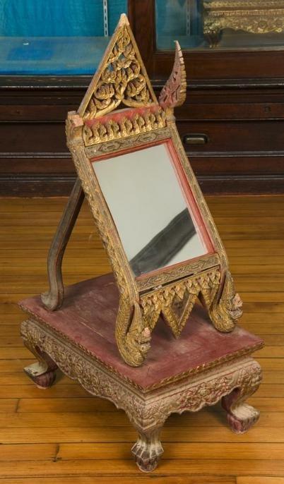 10: Antique Thai carved polychromed wood vanity mirror