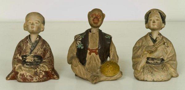 16: (3) antique Japanese pottery nodding figures