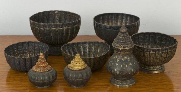 20: Group antique Thai silver niello vessels
