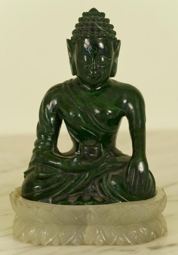 224: Antique Chinese malachite and pale green jade Budd