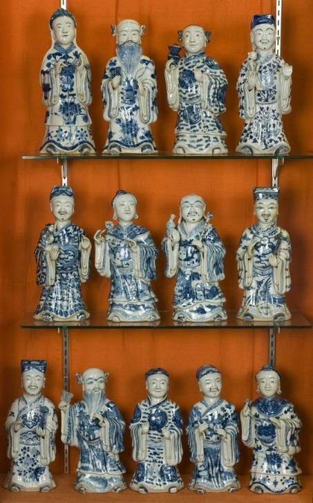 257: Set (13) antique Chinese blue-and-white immortal f