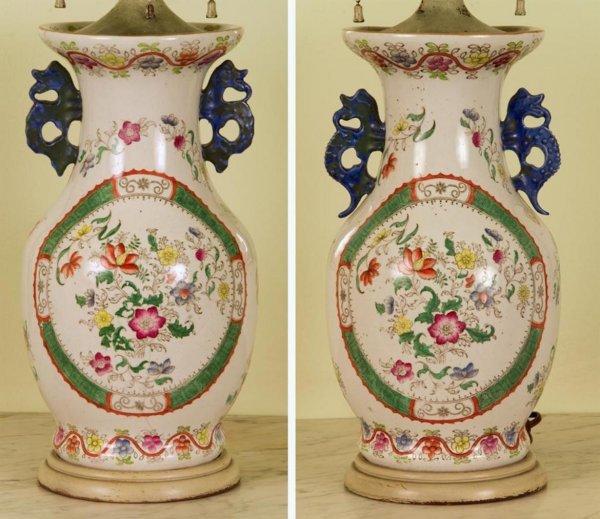 353: Pair antique English ironstone vase/lamps