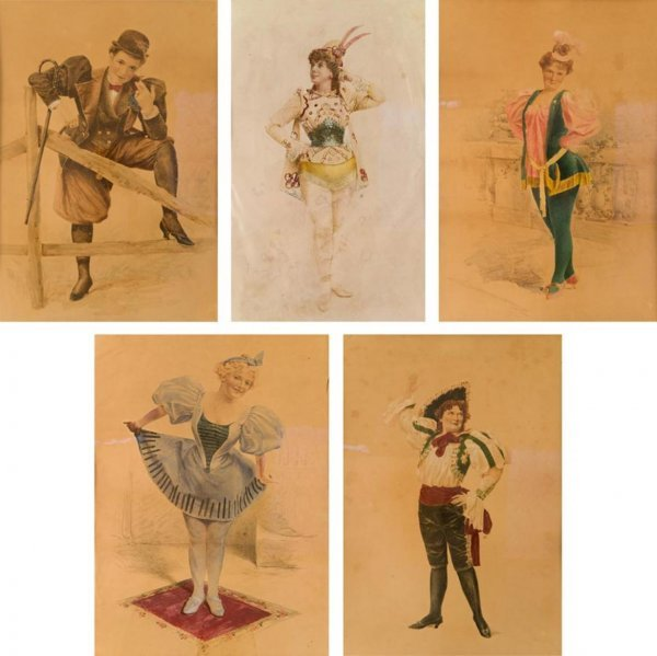 360: (5) hand-painted theatrical costume studies