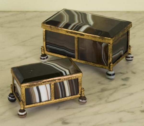 368: (2) antique Continental gilt bronze and agate boxe