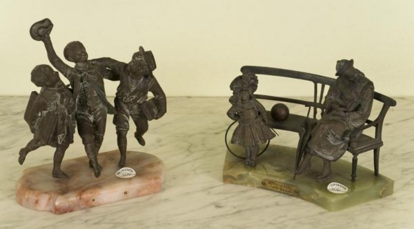 370: (2) French patinated metal and marble figural grou