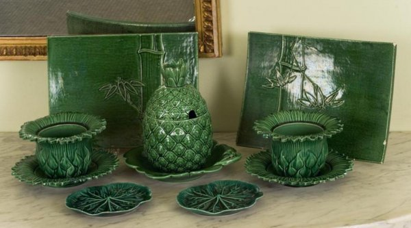 371: Group antique green majolica table articles