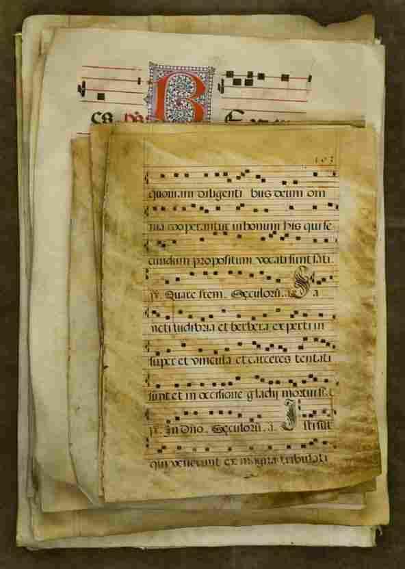 791: Collection (18) antique illuminated vellum choirbo