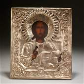 Russian metal mounted icon of Christ