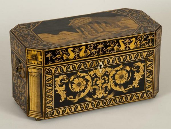 440: Large Regency penwork tea caddy