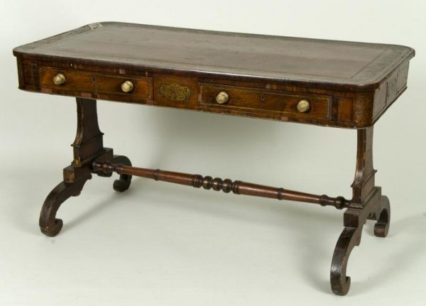 441: English Regency brass inlaid rosewood writing tabl
