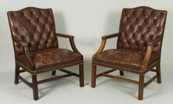 449: Pair George III style leather library chairs by Sm
