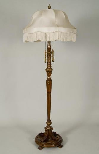 454: Antique George II style parcel gilt walnut floor l