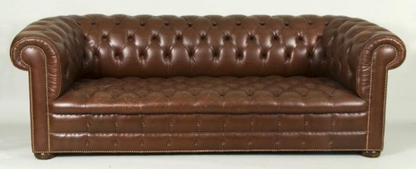 455: English leather Chesterfield sofa by Smith & Watso