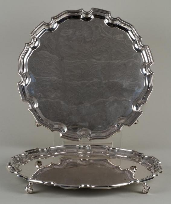 459: Pair George III style sterling silver salvers