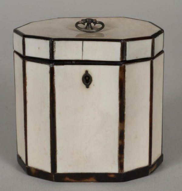 460: George III ivory and tortoise shell veneered tea c