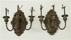 853 Pair Art Nouveau silver plated 3light wall sconce