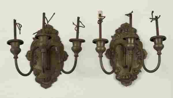 853: Pair Art Nouveau silver plated 3-light wall sconce