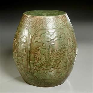 Chinese Longquan celadon garden seat