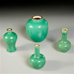 (4) Chinese apple green glaze crackle vases