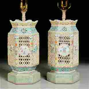 Nice pair Chinese famille rose porcelain lanterns