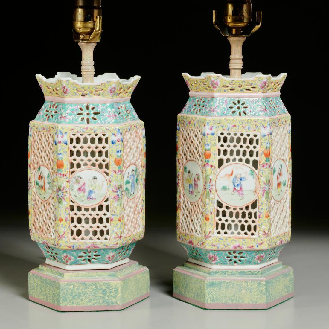 Nice pair Chinese famille rose porcelain lanterns