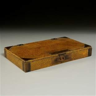 Chinese bronze mounted shagreen document box