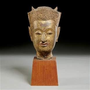 Southeast Asian gilt bronze buddha head