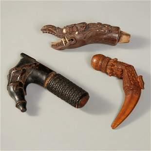 (3) Indonesian wooden Kris handles