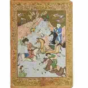 Safavid School, large gouache and gilt painting