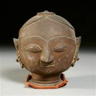 Antique Indian bronze head of Parvati or Gauri