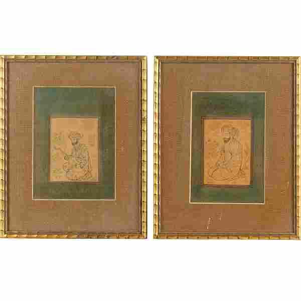 Safavid School, (2) portrait drawings