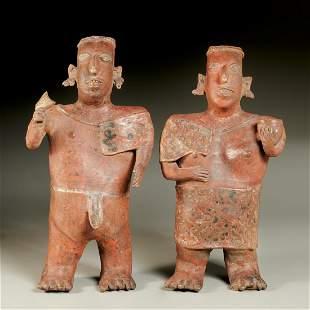 Pair Nayarit pottery figures, ex-Parke-Bernet