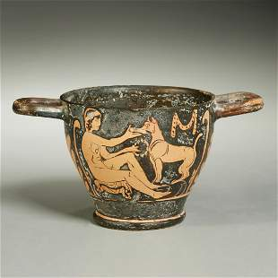 Ancient Greek red-figure pottery vase
